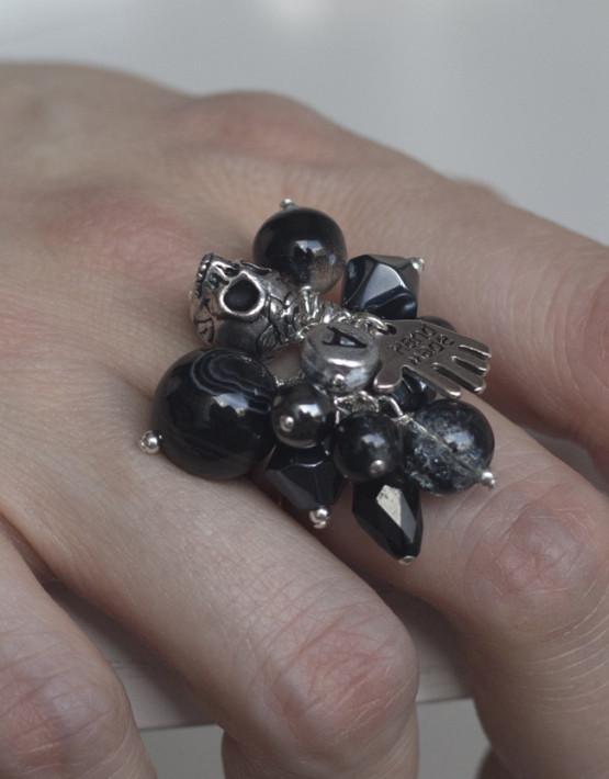 Silverring svart
